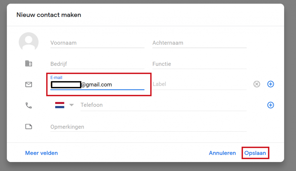 Add Gmail contact