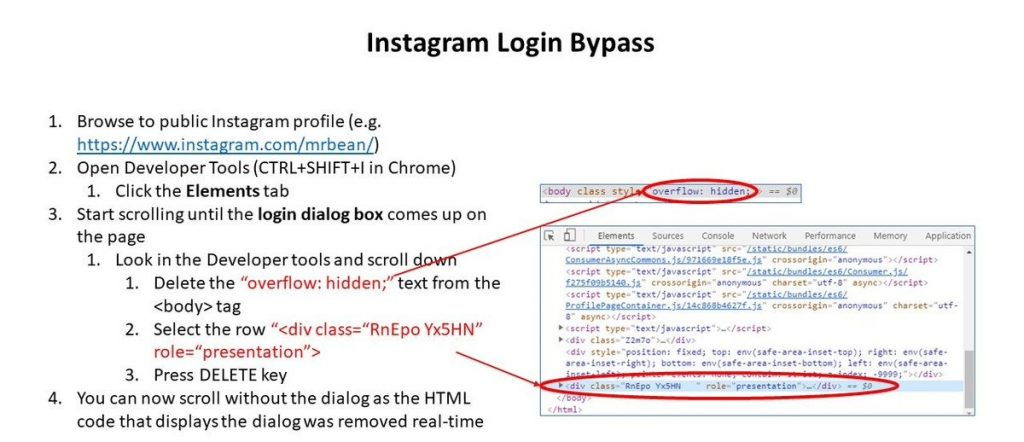 Instagram login bypass