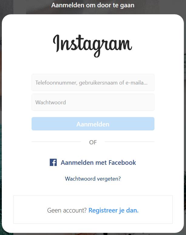 Instagram popup