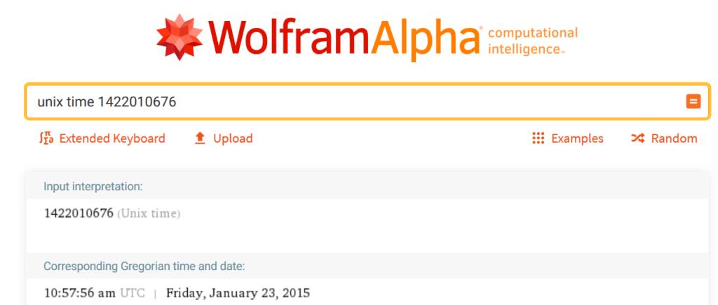 Time on WolframAlpha